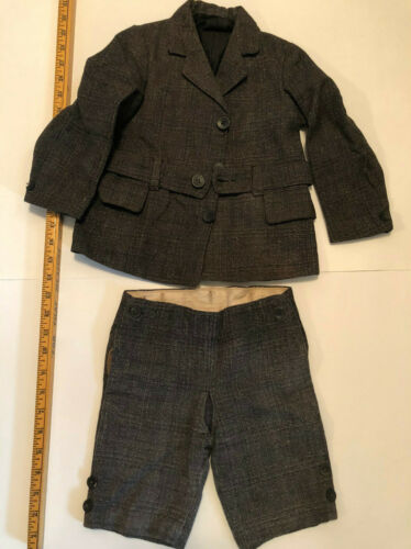 Vintage Victorian Suit - Wool Belted Jacket & Trousers Grey Black Plaid for Boy