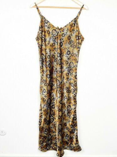 Vintage 90s Intimates V neck Floral Spaghetti Strap Gold slip Black Dress XL