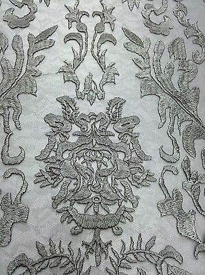 Modern Lace Damask (Silver Hollywood Damask 2 Way Stretch Modern Lace Fabric Sold By The Yard )