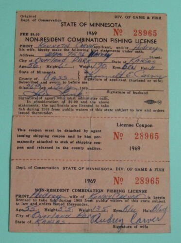 1969 Minnesota Non Resident Combination Fishing License...Free Shipping!