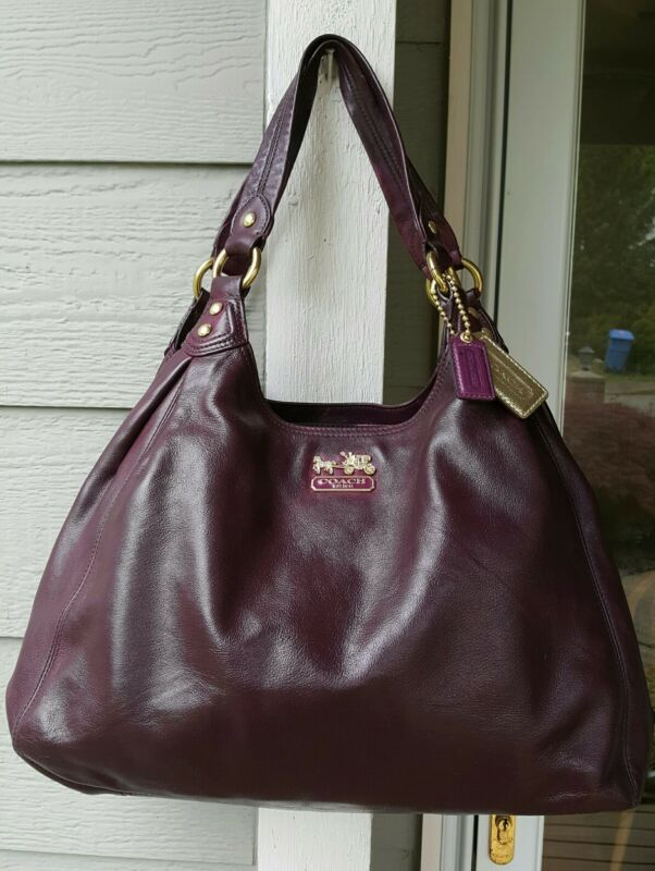 Coach Madison Maggie Purple Leather Hobo Style# 14313