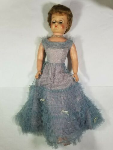 """28"""" Vintage Rubber Doll Pearls Necklace Long Dress Gown MCM Blinking Eyes"""