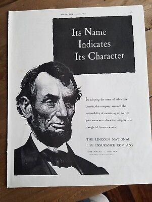 1949 Lincoln National Life Insurance Company Name Indicates Character Abraham Ad