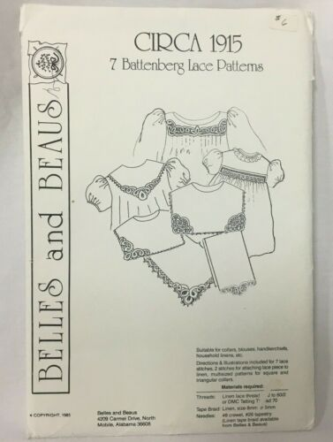 Vintage 1985 Belles and Beaus Circa 1915 7 Battenberg Lace Patterns Uncut FF