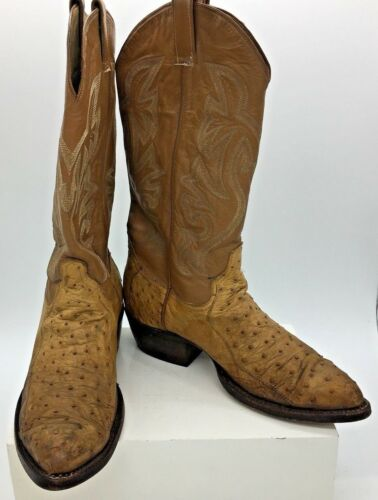 Vintage, Mens, Ostrich, Quill, Distressed, Tan, Leather, Cowboy, Western, Boots, Size, 8, EE