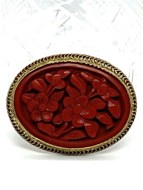 Antique Chinese Hand Crafted  Cinnabar Pin Brooch