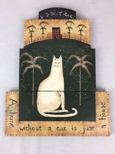 A Home Without a Cat is Just a House Handpainted Wood Plaque Hanging Sign 12x15