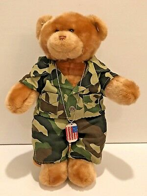 Build A Bear Teddy Bear Plush with Green Camo Camouflage Uniform & Dog - Teddy Bear Dog