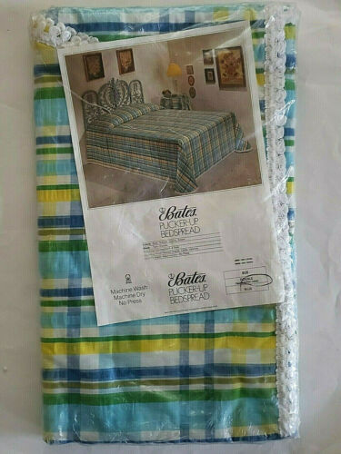"Vintage Bates Bedspread Pucker Seersucker Cotton Plaid Double Size 94""X110"" NOS"