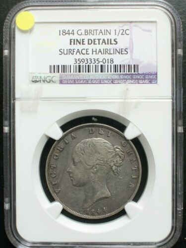1844 GREAT BRITAIN 1/2 CROWN NGC FINE Details KM# 740