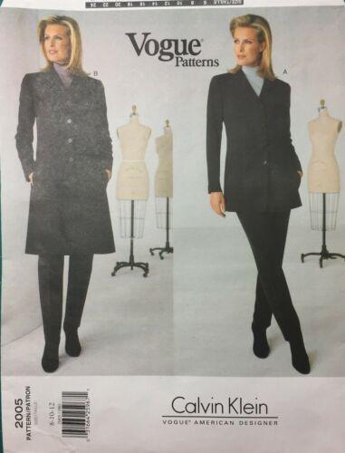 Calvin Klein VOGUE Pattern #2005 COAT DRESS SUIT SLACKS Pants Sz 8-12  UNCUT