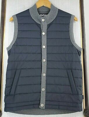BARBOUR Mens Size Small Weather Comfort Essential Gilet Vest Quilted Navy Snap