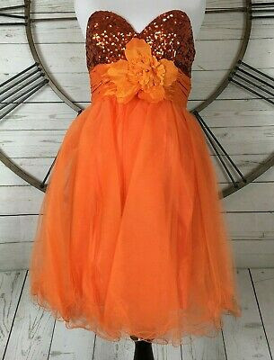 Cinderella Divine Prom Dress Cheap Orange Sequin Tulle Skirt Size 6 Costume