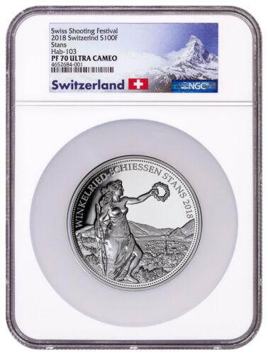 2018 Switzerland Shooting Thaler Winkelried 5 oz Silver NGC PF70 UC SKU51619