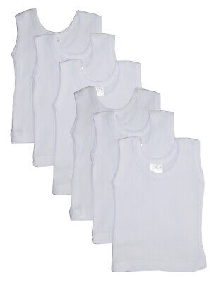 Bambini White Tank Top 6 Pack Baby Bodysuit Clothes 100% Cotton Authentic Unisex ()