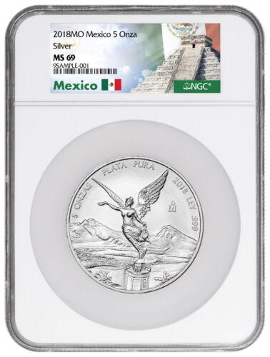 2018-Mo Mexico 5 oz Silver Libertad Coin NGC MS69 Exclusive Label SKU53407