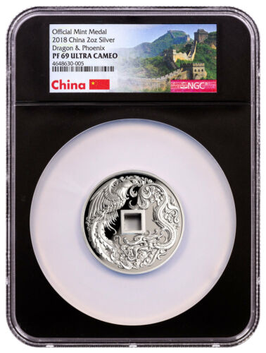2018 China Dragon & Phoenix 2 oz Silver Proof Medal NGC PF69 UC Black SKU52204