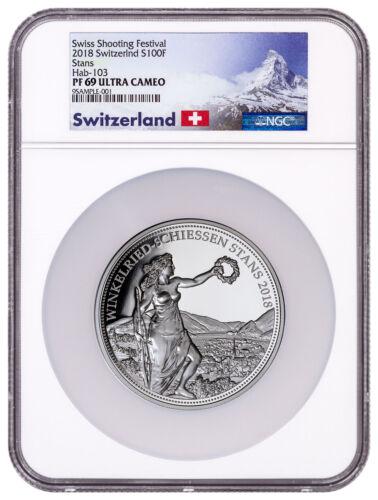 2018 Switzerland Shooting Thaler Winkelried 5 oz. Silver NGC PF69 UC SKU51618