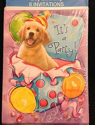 Puppy Theme Birthday Invitations With Envelopes 8 Golden Retriever Birthday ](Golden Birthday Invitations)