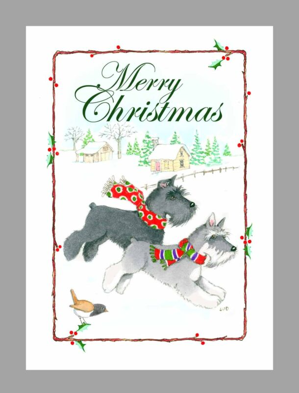 Schnauzer Dogs, Christmas Cards, Box of 16 Cards & 16 Envelopes