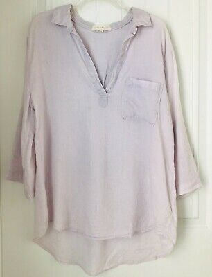 SIDE STITCH  Womens XL 100% Linen Tunic Shirt V Neck Collar One pocket ~  One Pocket Tunic
