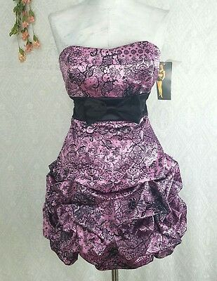 Womens Pink black Dress Sz Small (6-7) NWT $74 strapless padded barbie pin up