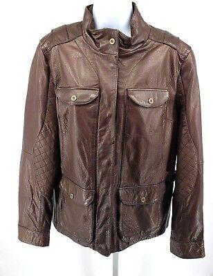 Eddie Baurer Womens  XL Leather Jacket Coat Brown $350 Quilted Arm Aviator  Aviator Womens Jacket