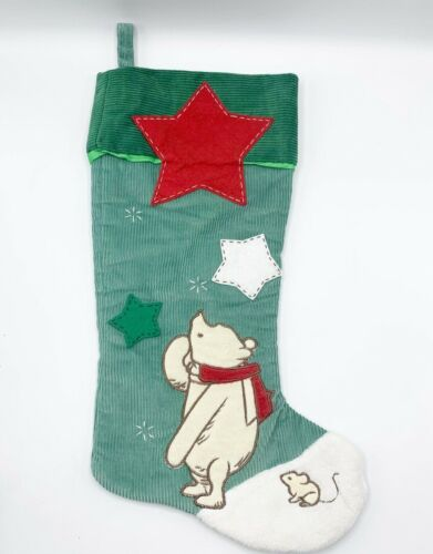 Disney Winnie the Pooh Christmas Stocking Corduroy Stars Green Embroidered Mouse