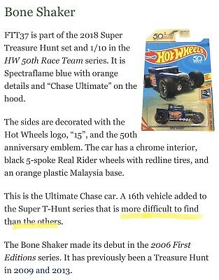 Hot Wheels 2018 Bone Shaker ultimate chase super Treasure hunt