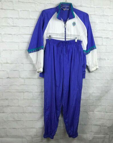 Womens Vintage Nylon Track Suit L Zip Jacket Pants 90s White Purple Bold Spirit