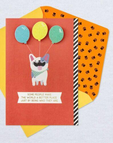 Happy Birthday Dog & Balloons World Is Better Place Theme Hallmark Greeting Card