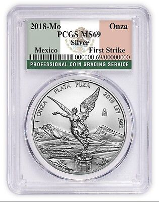 2018 Mexico 1oz Silver Libertad PCGS MS69 First Strike Flag Label In Stock