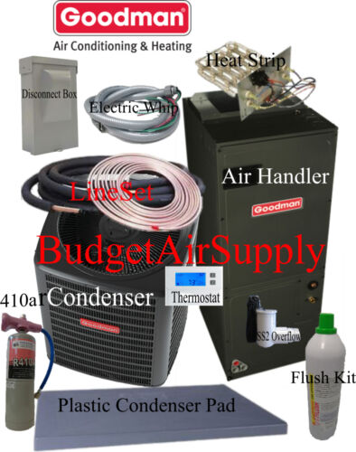 2 Ton 14 Seer Goodman Heat Pump Gsz14024+aruf25b+flush+410a+25ft Install Kit