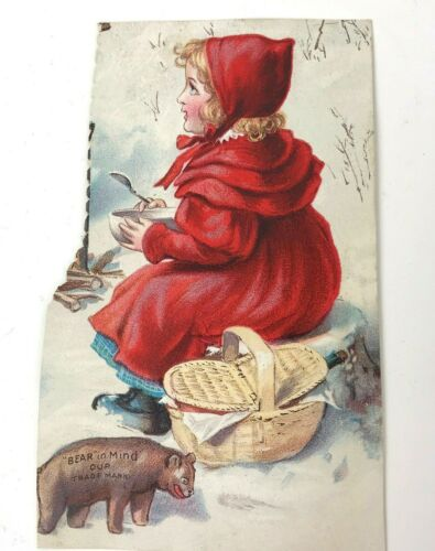 Vtg Trade Card QUAKER OATS PETTIJOHNS Breakfast Food Cereta Red Riding Hood