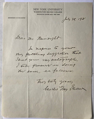 Dr.Charles Shaw - Philosoph - original Brief 1931 NY University  27 x 21 cm