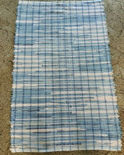 "Blue & Pink Denim Woven Rag Rug Hand Loomed 44"" x 27"" New USA Made"