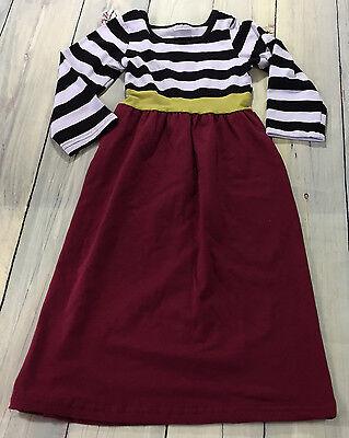 Girls Long Sleeve Maxi Dress Size XS 12-18M  Black White Stripe Maroon Red