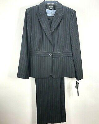 Signature by Larry Levine Pant Suit sz 16 Blazer Pants Black Pinstripe Lined NWT