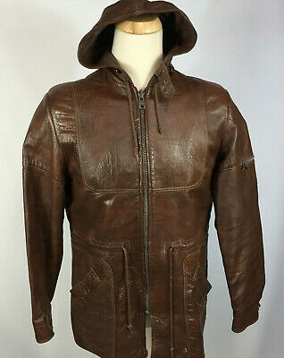 Rare Vintage 60s 70s Grais Hollywood Gangster Leather Jacket Coat w/ Hood Mod 40 (60s Gangster)