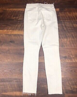 Fray Denim Jeans (MOTHER Denim THE DOUBLE FRAY CHARMER Warm Ivory size 25 Jeans Pants)