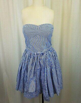 Abercrombie & Fitch Pinstriped Summer Mini Swing Dress Smocked Sundress Womens L