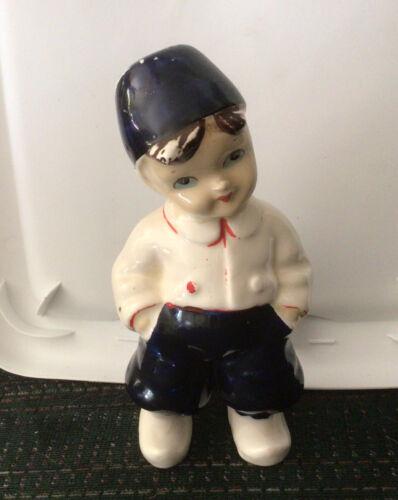 Vtg Delft Hand Painted Blue N White Dutch Boy Porcelain Figurine 1955 6 1/4 T - $9.50