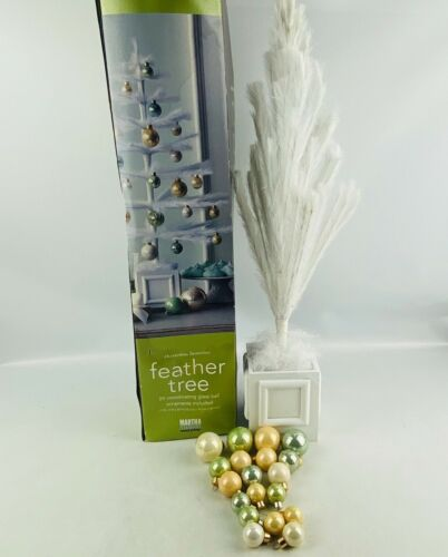 """Martha Stewart Feather Tree & Ornaments 24"""" High White Tabletop Display Holidays"""