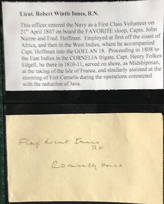 Leut.Robert Wintle Innes -Militär  - original Autogramm  - Größe  17 x 10 cm
