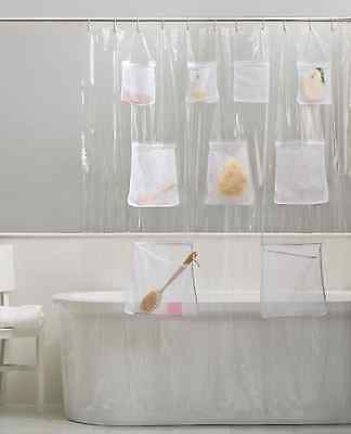PEVA Vinyl Shower Curtain Liner With Mesh Pockets - Assorted