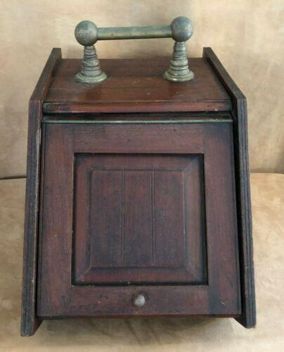 Antique Fireplace Scuttle Box Wood Coal Ash Bin brass handle vintage storage