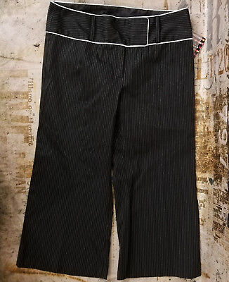 New Heart Soul Black With White Pinstriped Wide Leg Crop Capri Pants Size 5