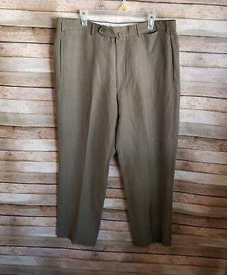 Incotex Venezia 1951 Mens Dress Pants Linen Blend Size 38 EUC Brown Flat Front