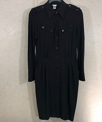 Cache Women's Size 10 Snap Front Knit Sheath Dress Black Front Knit Dress