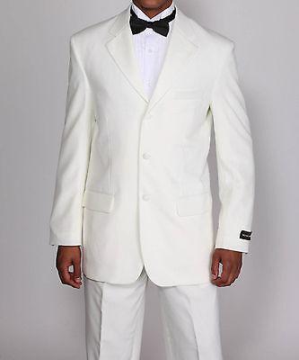 Men's 3 Button Tuxedo Suit w/ Flexible Waistband T802 Black Cream White Black 3 Button Tuxedo